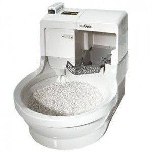 Self-cleaning litter box for cats.