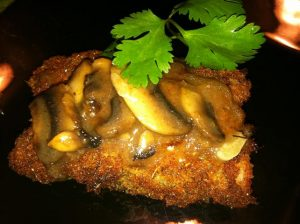 Breaded Italian Chicken Roll with Turkey & Mushroom Gravy