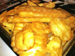 Battered Fish and Shrimp with French Fries and Tartar Sauce